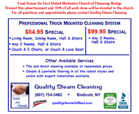 Fundraiser Quality Steam Clean 2016-06